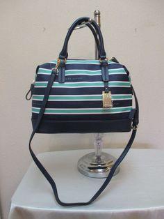 Bag Tommy Hilfiger Handbag CV Bowler 6930081 Blue Teal White Gold Retail $85.00 #TommyHilfiger #Bowler