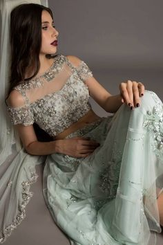 peep hole blouse , cold shoulder blouse, offshoulder blouse , light grey lehenga , ice blue lehenga , fairytale lehenga, delciate lehenga
