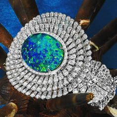 Opal and Diamond Cuff Bracelet by ORLOV (@orlovjewelry)