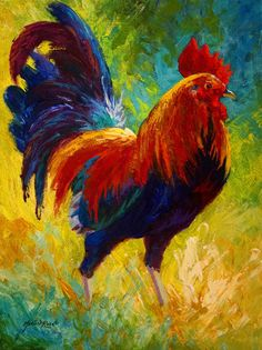 Hot Shot - Rooster Painting by Marion Rose - Hot Shot - Rooster Fine Art Prints and Posters for Sale Más Animal Paintings, Art Paintings, Painting Prints, Fine Art Prints, Rooster Painting, Rooster Art, Painting Metal, Knife Painting, Chicken Painting