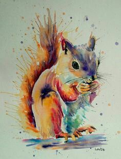Art print of Squirrel watercolor painting by Anna Lee ACEO print A pause