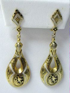 Vintage Spanish Damascene Drop Earrings by YourVintageDesires, $10.00