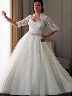 Long Sleeve Plus Size Wedding Gown With Lace