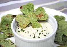 Grab a shamrock shaped cookie-cutter & make these tasty chips and dip. #recipe