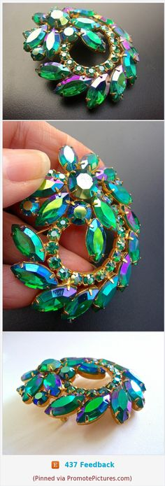 WEISS Green Blue AB Rhinestone Brooch, Green Swirl, Vintage #brooch #weiss #watermelon #blue #green #rhinestones #swirl #vintage #sparkle https://www.etsy.com/RenaissanceFair/listing/575605582/weiss-green-blue-ab-rhinestone-brooch?ref=listings_manager_grid  (Pinned using https://PromotePictures.com)