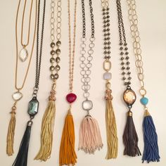 Colorful tassel necklaces for spring. Email Lisajilljewelry@gmail.com for information.