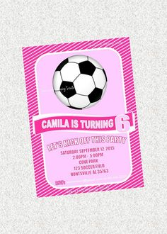 Soccer Party Invitation Girl Soccer Party by OwensGiftWrapping