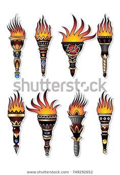 Traditional Tattoo Torch, Traditional Tattoo Vector, Traditional Tattoo Filler, Traditional Tattoo Old School, Traditional Tattoo Flash, Traditional Tattoo Sleeves, Flame Tattoos, Old Tattoos, Sleeve Tattoos