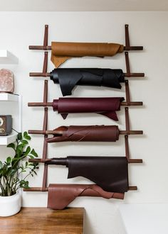 Leather Wall, Custom Leather, Leather Tooling, Leather Craft, Leather Diy Crafts, Scarf Storage, Fabric Storage, Hanging Scarves, Wall Hook Rack