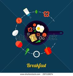 Vector illustration of cooking eggs with frying pan and ingredients. Flat style. - stock vector