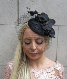 801613946a88b Black Orchid Birdcage Veil Flower Hair Fascinator Hat Races Funeral Wedding  5720 Flower Hair