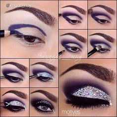 Maquillaje plata y morado