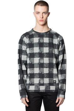 "Rules Fuzzy Check Sweat | Sweatshirts | CheapMonday.com - Print: printed distressed ""reallife"" check with twill effect - AW 2015"