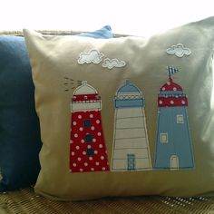 NEW....Lighthouse applique cushion in natural linen