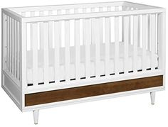 Amazon.com : Babyletto Eero 4-in-1 Convertible Crib with Toddler Bed Conversion Kit in White/Natural Walnut, Greenguard Gold Certified : Baby Modern Crib, Nursery Modern, 4 In 1 Crib, Best Crib, Portable Crib, Convertible Crib, Crib Mattress, Cribs, Solid Wood