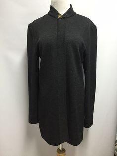 St John Collection Womens Santana Knit Zip Front Gray Jacket Gold Button Size 10 #StJohnCollection #BasicJacket