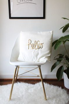 DIY sequined hello pillow by sugar and cloth - so many fun DIY projects for us to check out @Nicole Kranzberg-Tihhi