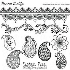 Henna Motif Clip Art Files in Black for Personal by SisterPixel, $5.99