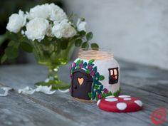sklo-fimo svícen -  La casetta-fungo candela fai da te, un'idea regalo