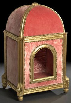 miscellaneous, France, Decidedly posh French carved giltwood and Vieux rose silk velvet domed dog's bed (or pet house) in the Louis XVI styl...