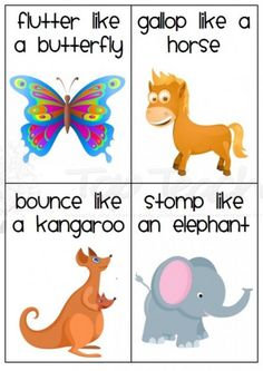 20 animal movement cards... For rainy day wiggles! This could work with the animal action song if you don't use the cd
