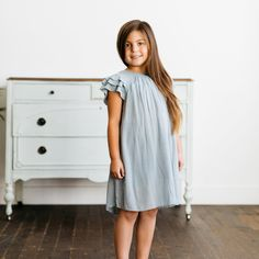 Grey Ruffle Dress: Baby Store - Clothing and Sales – Declan Roe Ruffle Dress, Ruffles, Family Picture Outfits, Baby Store, Beautiful Dresses, Special Occasion, Short Sleeve Dresses, Summer Dresses, Elegant