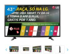"Smart TV LED 43"" LG Full HD 43LH5700 Conversor Digital Wi-Fi 2 HDMI 1 USB << R$ 179455 >>"
