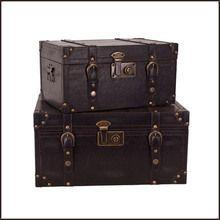 Decorative Black Trunk Set of 2
