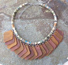 Short Necklaces – Boho, Ethno leather and cotton necklace – a unique product by LotkaArt via en.DaWanda.com