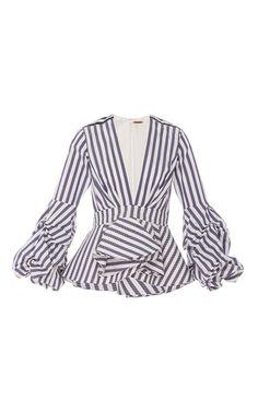 St. Barts V Neck Peplum Top by JOHANNA ORTIZ for Preorder on Moda Operandi