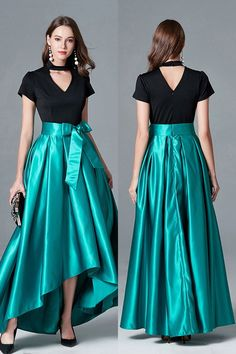 Shop Black And Green High Low Satin Evening Dress With Cap Sleeves online. SheProm offers formal, party, casual & more style dresses to fit your special occasions. Hi Low Dresses, Striped Maxi Dresses, Modest Dresses, Stylish Dresses, Cheap Dresses, Fashion Dresses, Formal Dresses, Long Evening Gowns, Black Evening Dresses