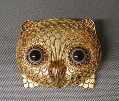 Brooch In The Form Of An Owl Head by Castellani c1860.......