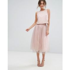 Little Mistress Faux Pearl Embellished Tulle Midi Skirt
