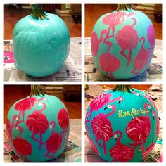 Lilly Pulitzer inspired painted pumpkin. #LillyPulitzer