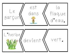 Primary French Immersion Resources: Freebie - French and English spring sentence puzzle cards Spanish Teaching Resources, French Resources, Kindergarten Writing, Writing Activities, Literacy, French Sentences, French Worksheets, French Grammar, French Classroom