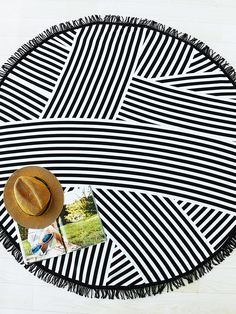 SheIn offers Black Striped Print Fringe Detail Round Beach Blanket & more to fit your fashionable needs. Nautical Stripes, Black Stripes, Beach Gear, Pineapple Print, Summer Diy, Summer Vibes, Beach Blanket, Budget Fashion, One Piece Swimwear