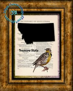 MONTANA State Black Silhouette with State Bird, Treasure State Art - Vintage Dictionary Page Art Print Upcycled Page Print by CocoPuffsArt on Etsy