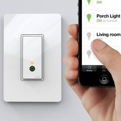 Wi-Fi Light Switch. Turn off lights if you're already in bed, set a schedule for when you're on vacation, turn on lights before you come home. Awesome.
