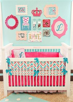 fun and bright baby girl nursery! Love this!! and the funny thing is...those were our wedding colors!!!!