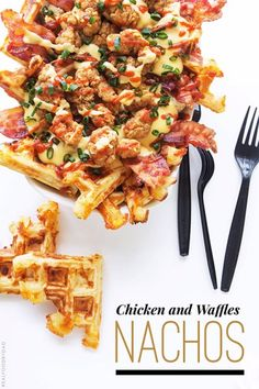 March Madness meets food madness. And by food madness, I mean artery-clogging, finger-licking, double-dipping Chicken and Waffles Nachos.  I'm on a nacho run, so get ready for a few more, but for today we are doing this one.  To start, the waffles are savory and flavored with a Parmesan and cheddar cheese blend. Yeah, I could have gone wild and thrown in all kinds of seasonings to give these savory waffles some added layers of flavor, but I didn't want the waffles to compete with the bacon…