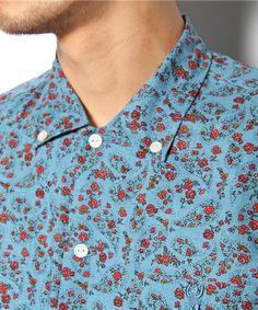 coen MENS(コーエン メンズ)の綿麻ペイズリー小花柄半袖シャツ(シャツ・ブラウス)|詳細画像