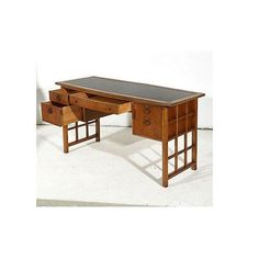 Image of Thomasville Vintage 1960s Leather Top Walnut Desk