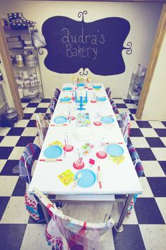 Darling tablescape at a Bakery Party with Lots of Cute Ideas via Kara's Party Ideas | KarasPartyIdeas.com #BakingParty #Bakery #PartyIdeas #PartySupplies #tablescape