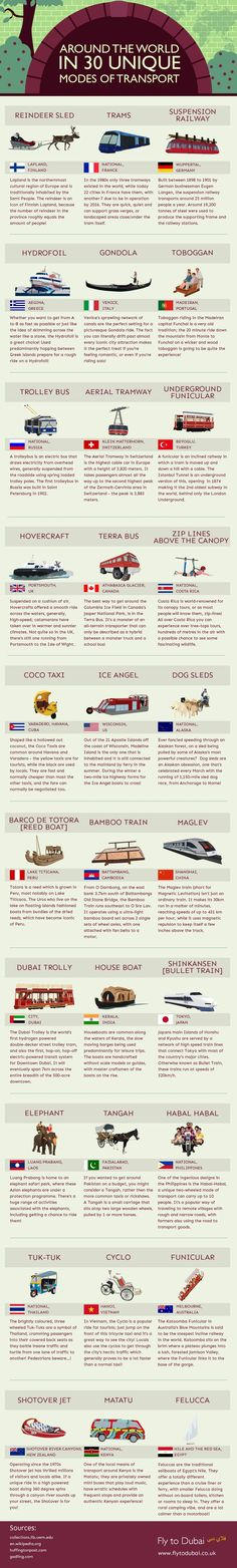 Around The World In 30 Unique Modes of Transport #infographic #Travel #Transportation