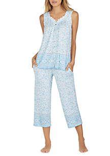 Aria 2 Piece Sleeveless Capri Pajama Set Morning Quote Morning