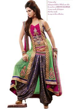 Shop Now - http://valehri.com/salwar-kameez/924-net-dhoti-style-salwar-kameez.html
