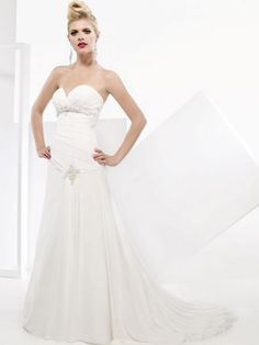 A-Line Sweetheart Neckline Strapless with Empire Waist Beading and Ruffles Lace up Chiffon Wedding Dress