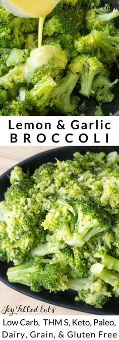 Lemon & Garlic Broccoli - Low Carb Keto Grain-Free Gluten-Free THM S This Garlic Broccoli Side Dish Recipe may not look like much but it is the.best.broccoli you will ever eat. I could seriously eat pounds of this stuff.
