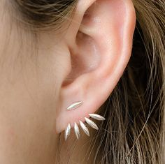 Silver Drops Ear Jacket, Sterling Silver, Spiky Earjacket, Leaves Jacket Earrings, Modern Edgy Jewelry, Gift , EJ003