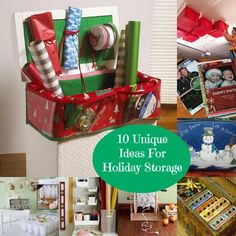 10 Unique Holiday Storage Ideas - might use the old hamper idea fitted with a few wine box inserts stacked to hold the paper upright...taller than just the wine box and easier to move around!